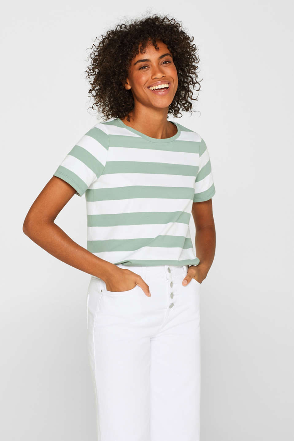 edc - Stretch cotton T-shirt with block stripes