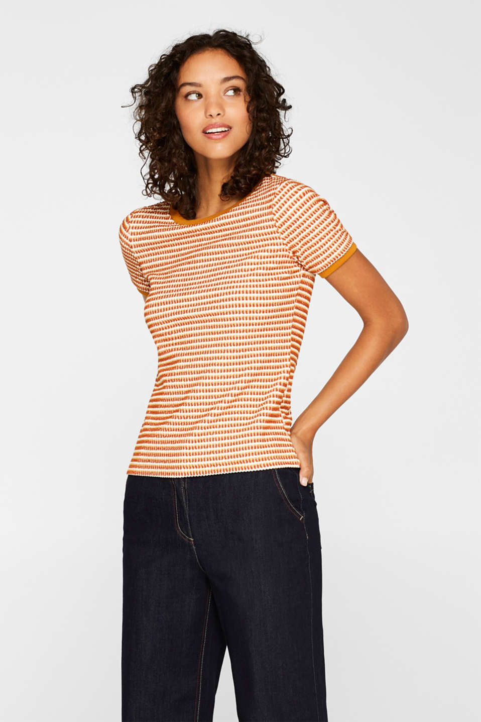 edc - Stretch T-shirt with a wavy texture
