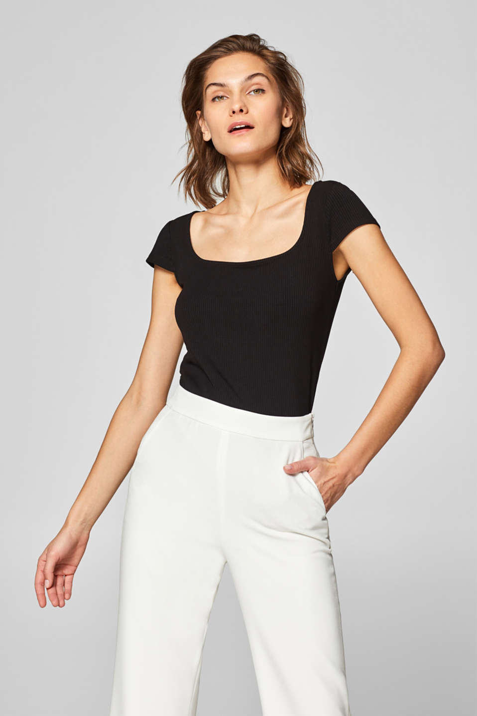 edc - Ribbed top with stretch and a square neckline