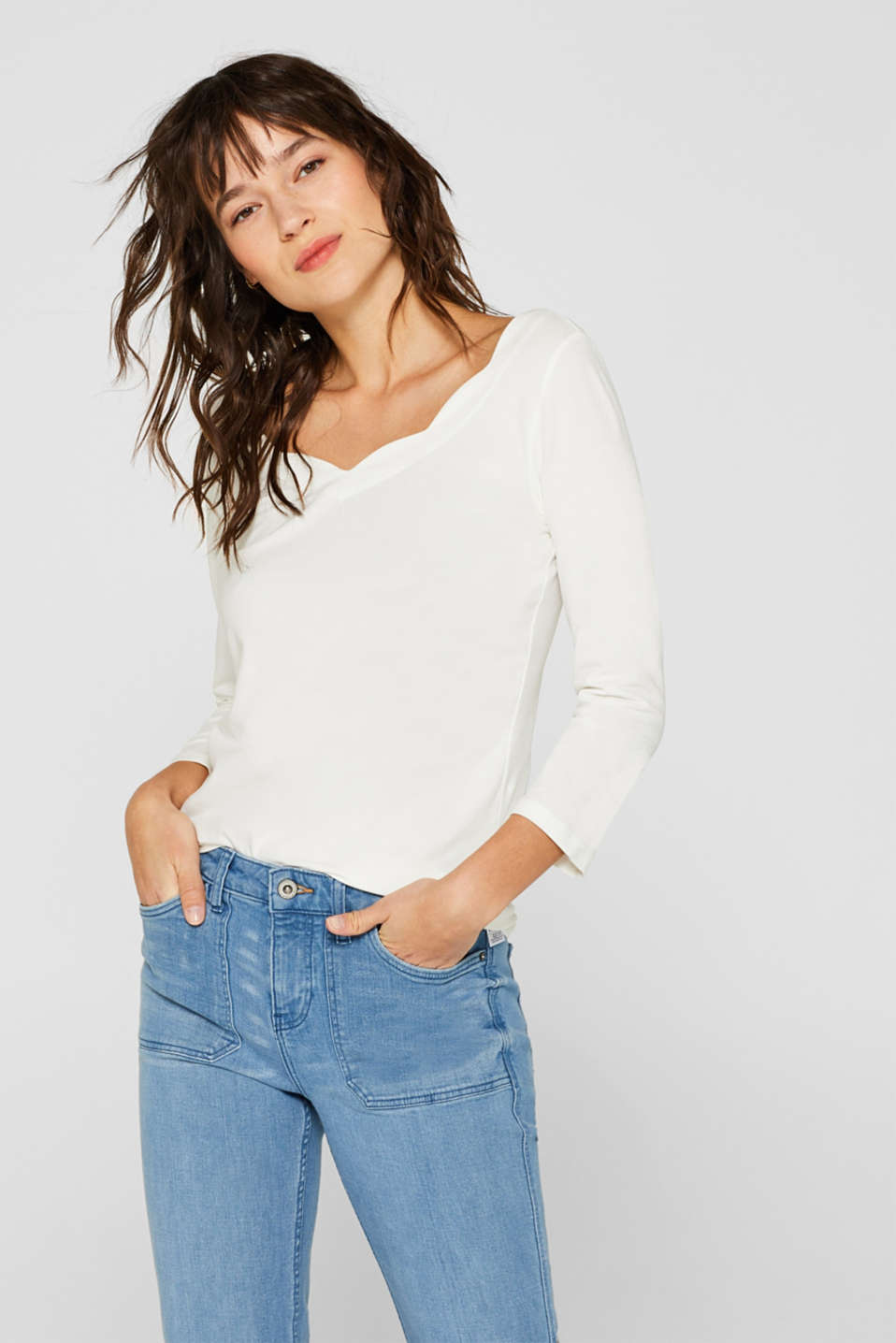 edc - Stretch long sleeve top containing organic cotton