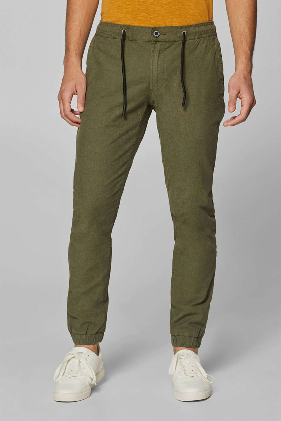 edc - Trousers with elasticated waistband, stretch cotton