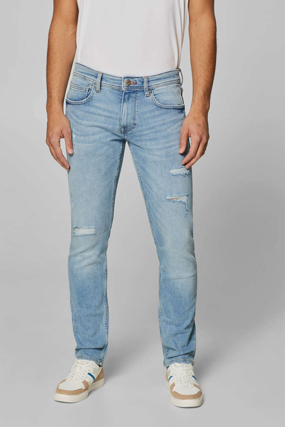edc - Stretchjeans med destroyed-effekter