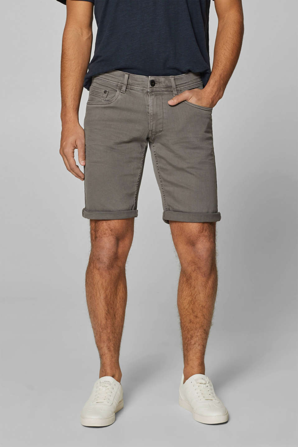 edc - Denim short met stretch en een pigmentkleuring