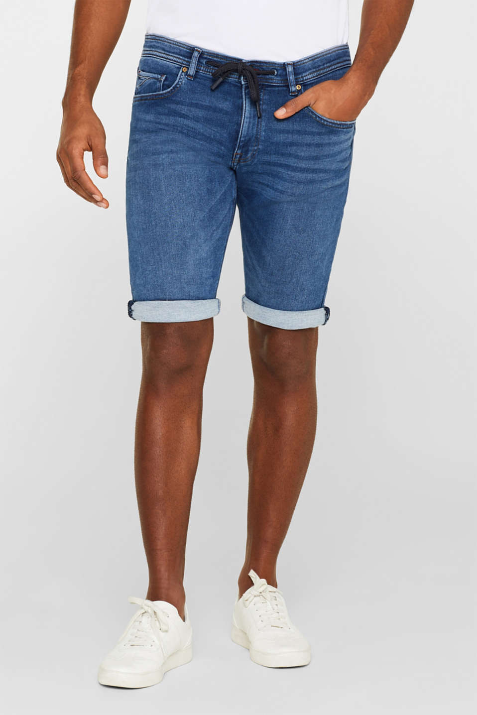 edc - Super stretch denim shorts in tracksuit fabric