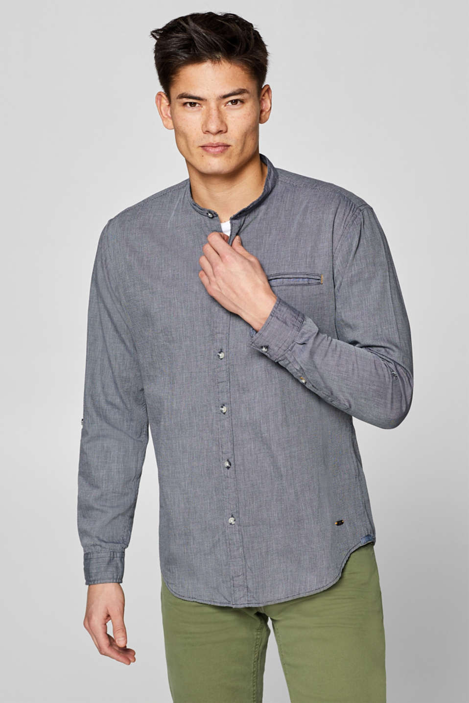 edc - Shirt with band collar made of 100% cotton