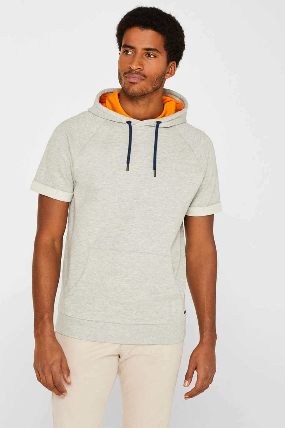edc - Short-sleeved hoodie in blended cotton