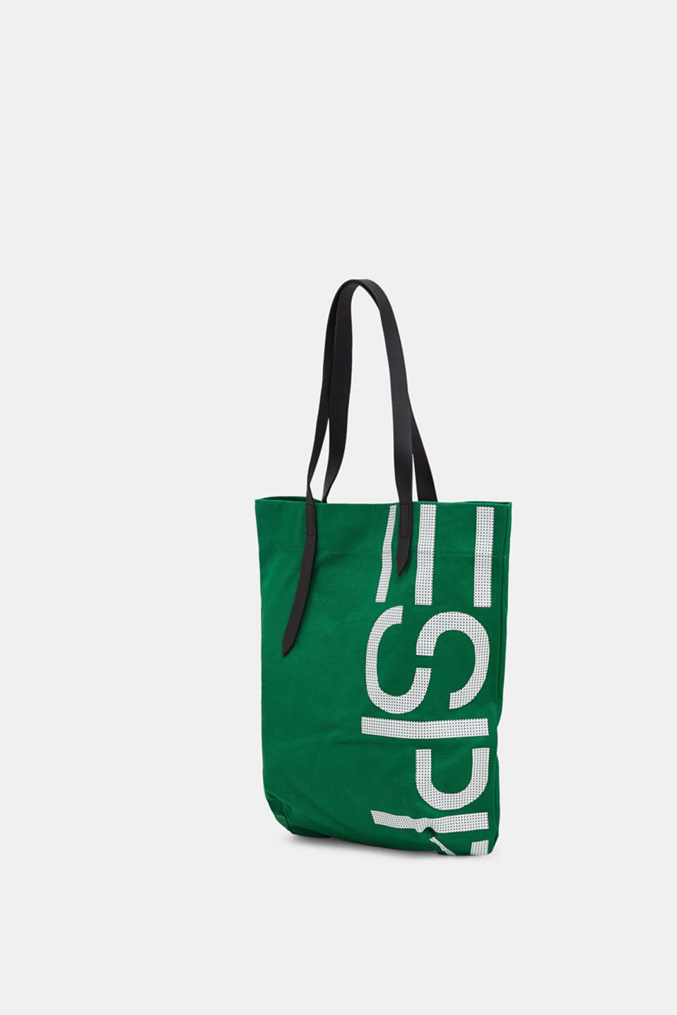 Canvas shopper with a logo print, 100% cotton, EMERALD GREEN, detail image number 2