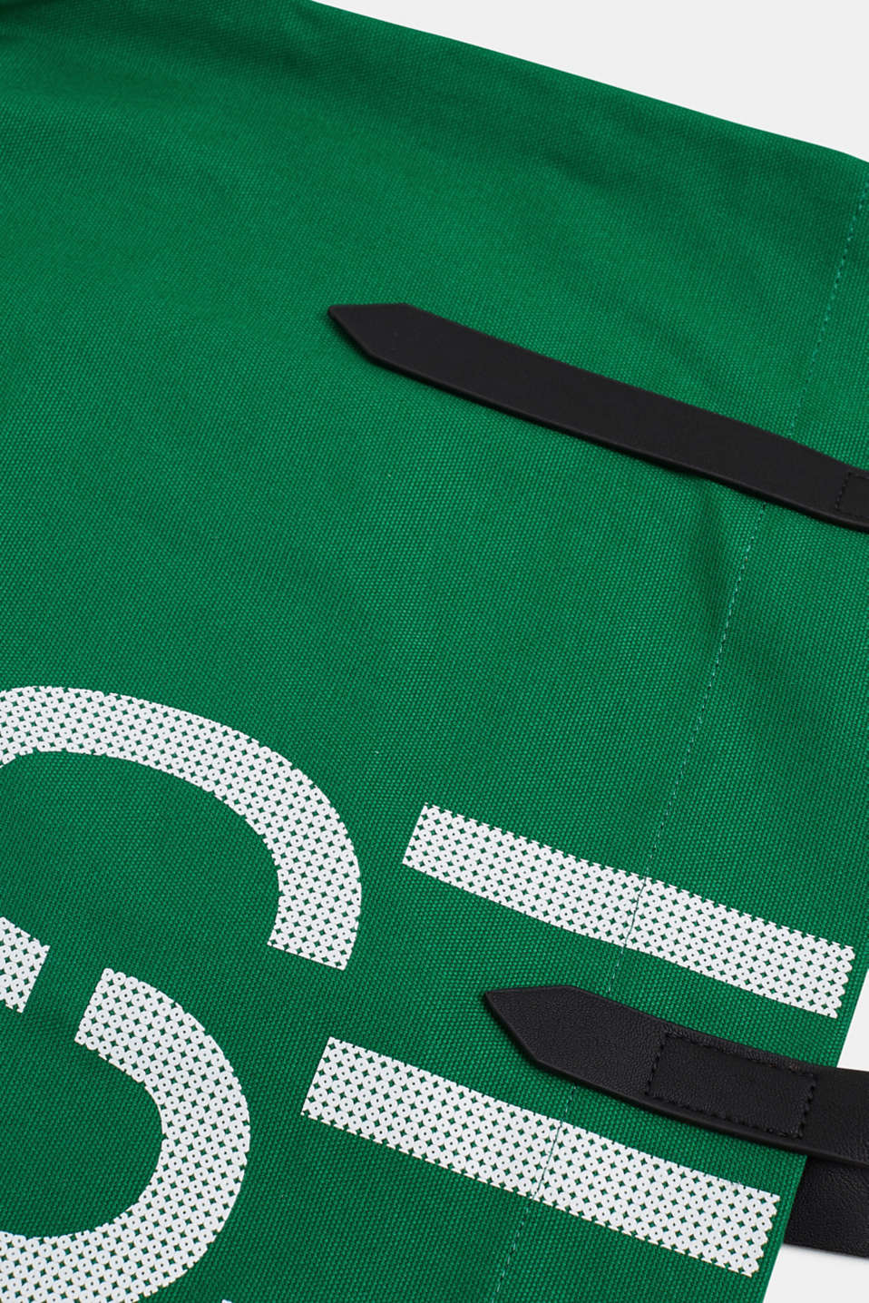 Canvas shopper with a logo print, 100% cotton, EMERALD GREEN, detail image number 3