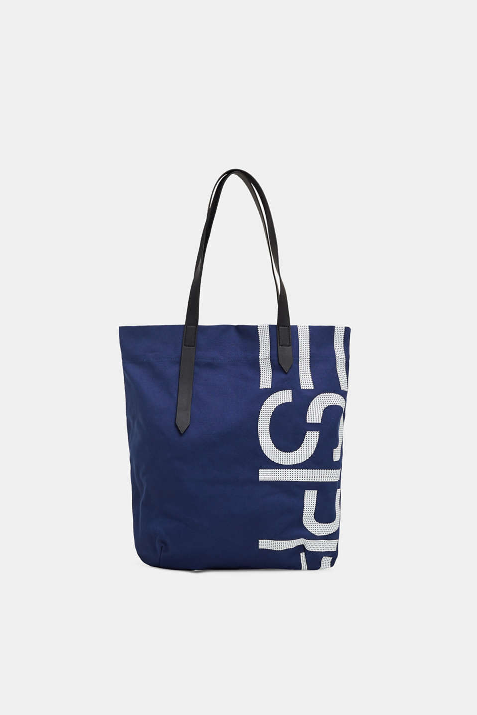 Esprit - Canvas shopper with a logo print, 100% cotton