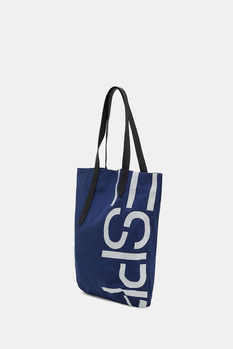 Canvas shopper with a logo print, 100% cotton, NAVY, detail image number 2