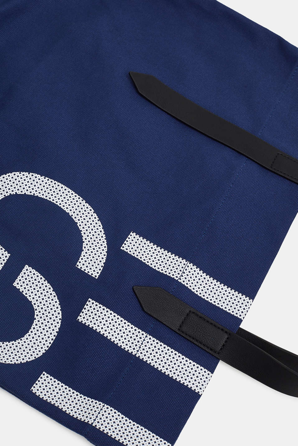 Canvas shopper with a logo print, 100% cotton, NAVY, detail image number 3