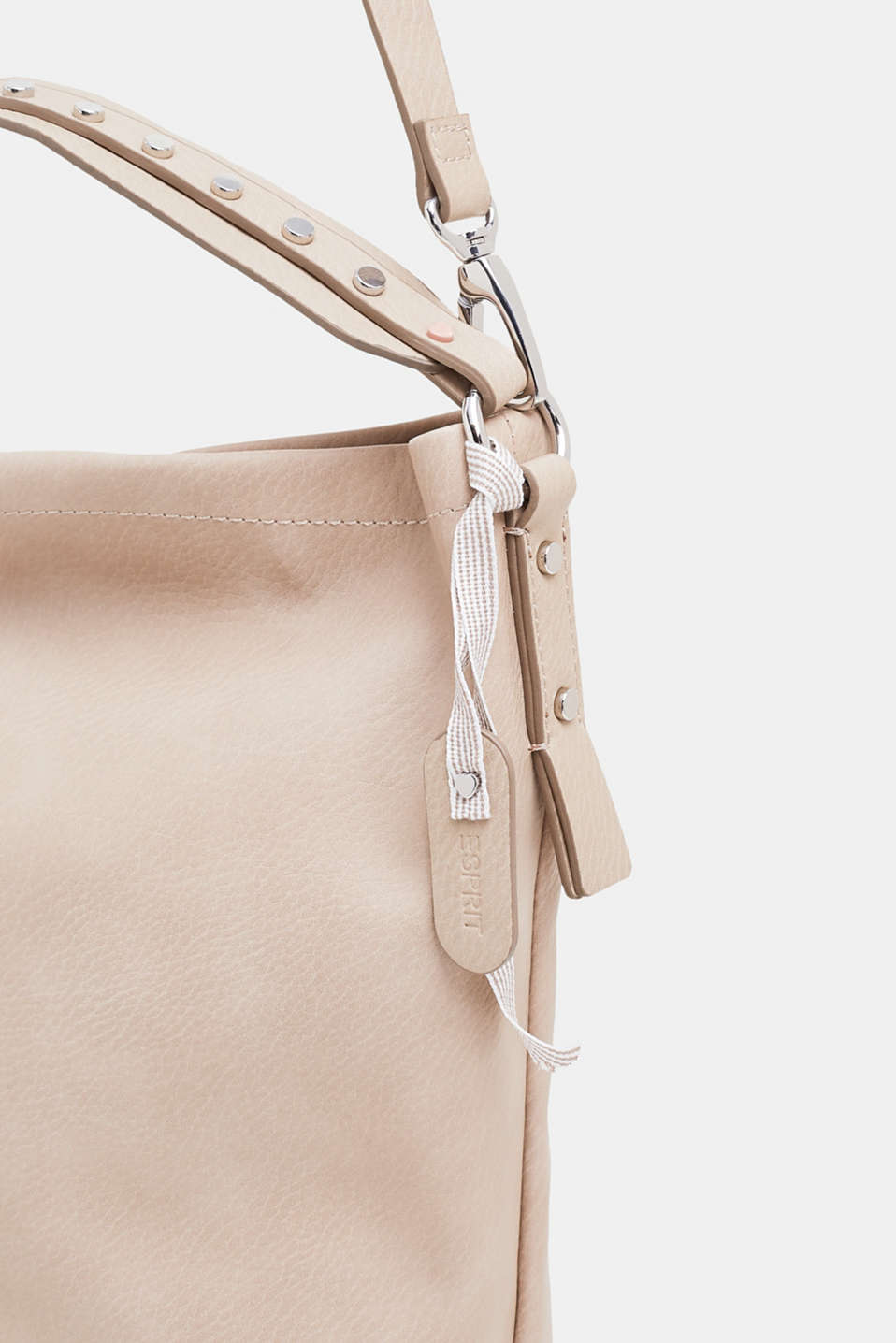 Faux leather tote bag, LIGHT TAUPE, detail image number 3