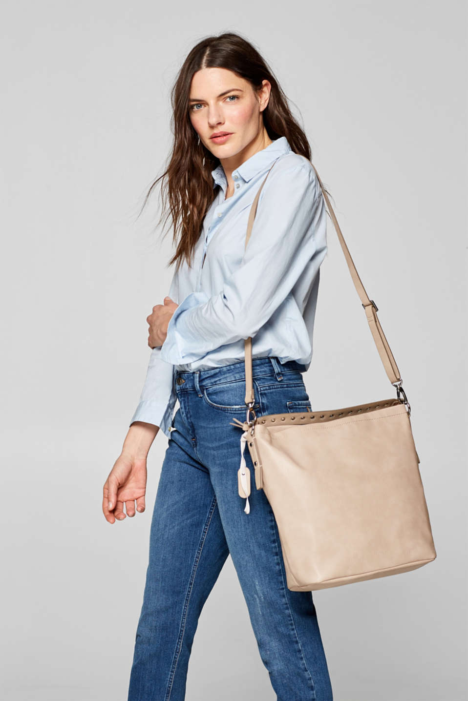 Faux leather tote bag, LIGHT TAUPE, detail image number 1