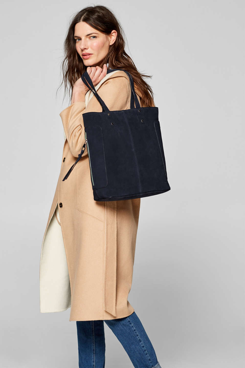 Leather shopper, NAVY, detail image number 1