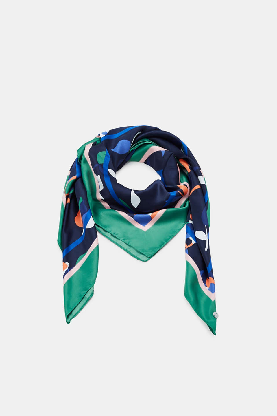 Esprit - Scarf with flowers and quadratic stripes