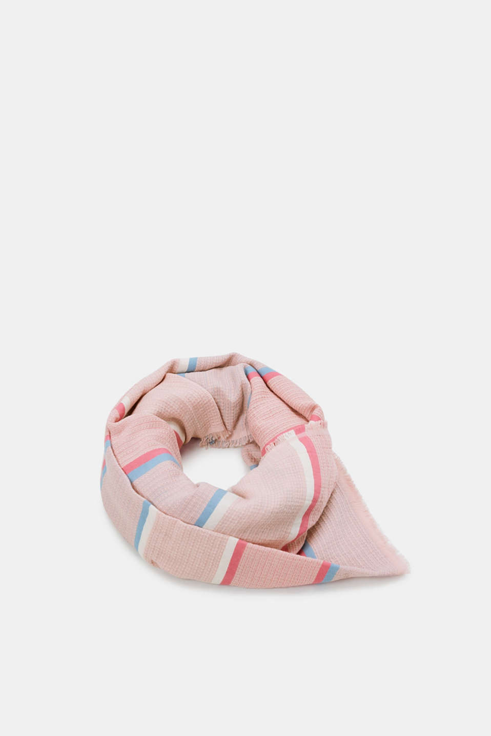 Textured scarf with a fine striped pattern, OLD PINK, detail image number 0