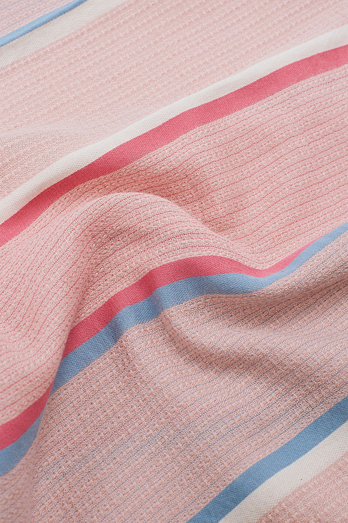 Textured scarf with a fine striped pattern