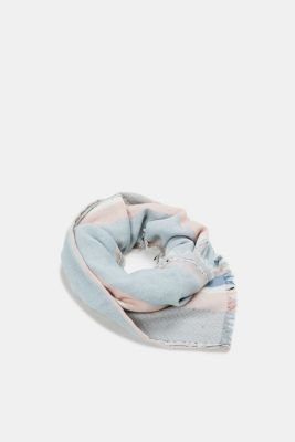 Jacquard scarf with knops, 100% cotton, GREY, detail