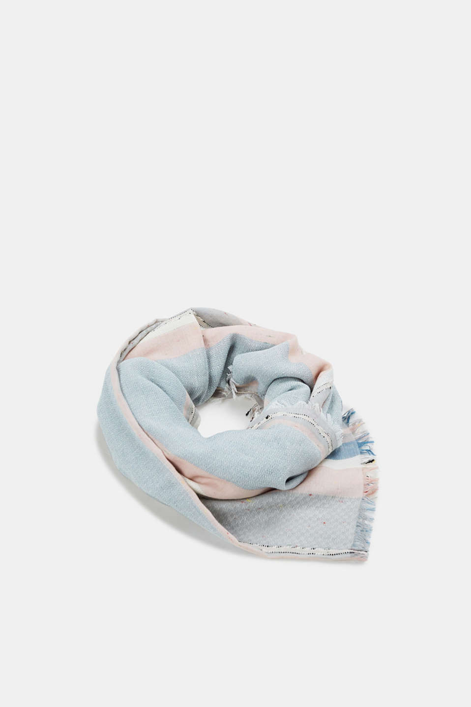 Esprit - Jacquard scarf with knops, 100% cotton