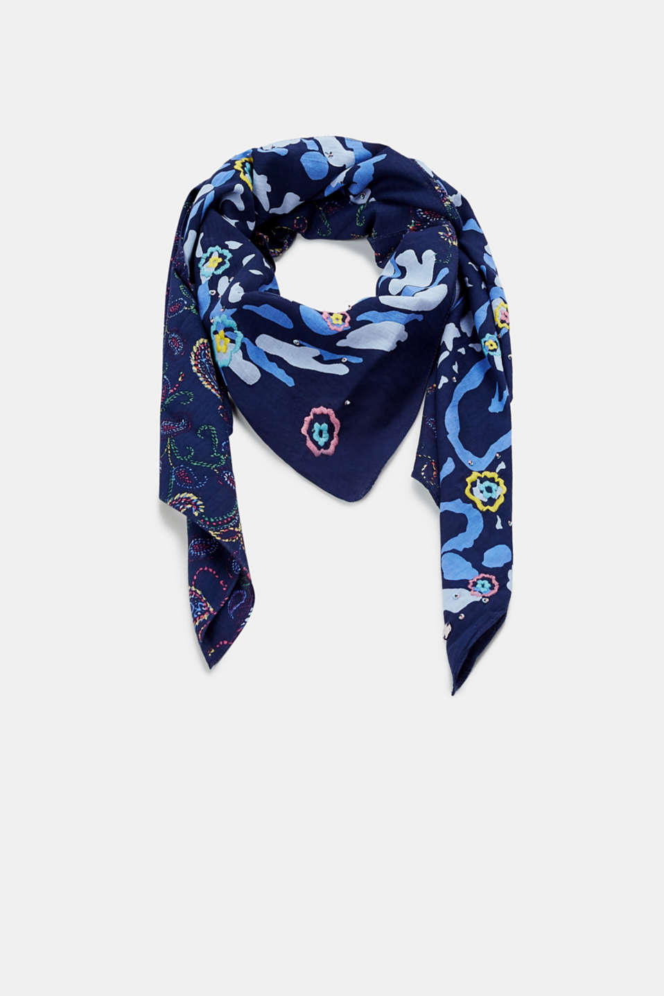Esprit - Mixed pattern scarf with embroidery, 100% cotton