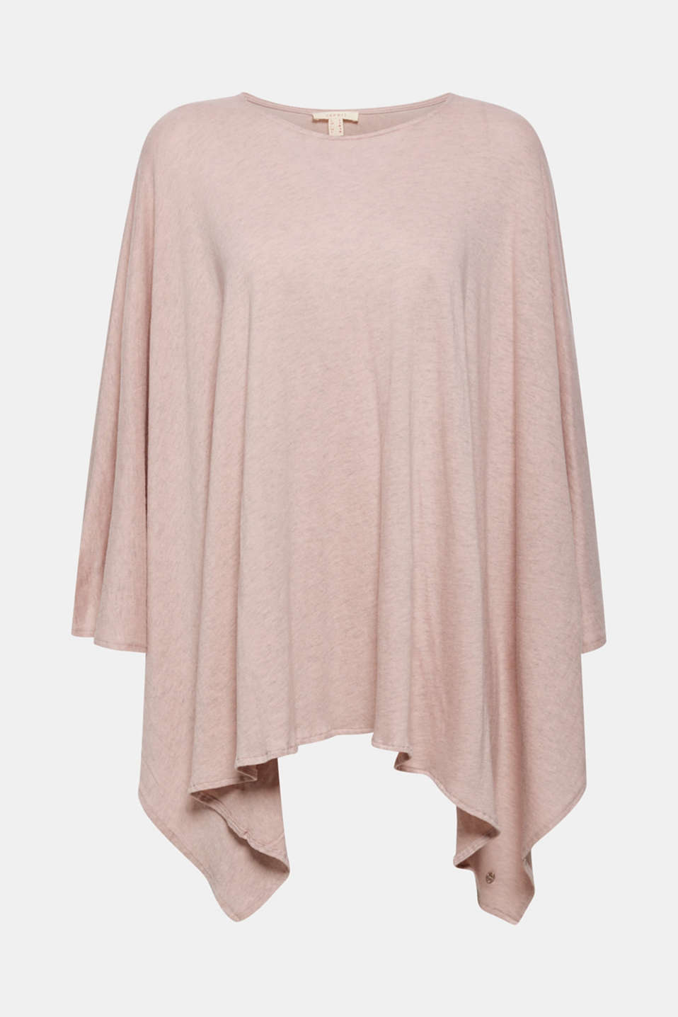 Esprit - Melange jersey poncho made of blended cotton