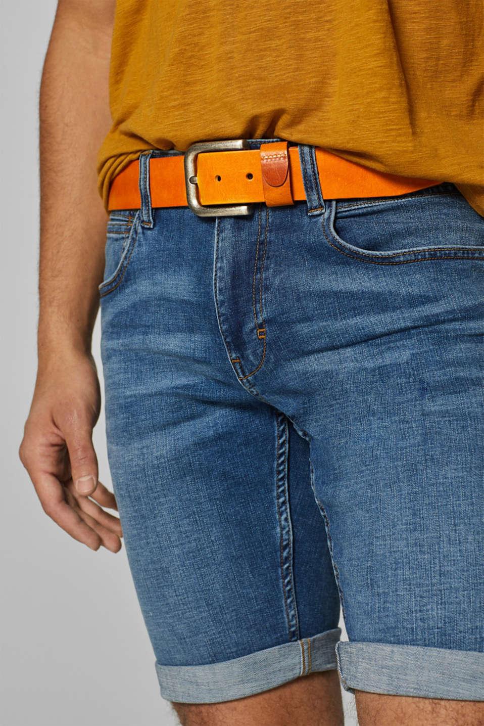 Leather belt, CARAMEL, detail image number 2