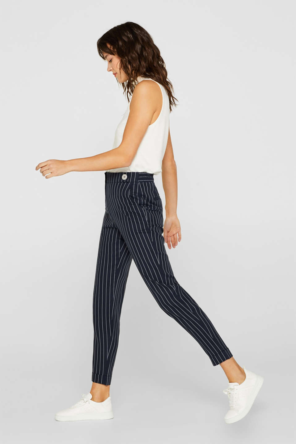 Esprit - PINSTRIPE Mix + Match blended linen trousers