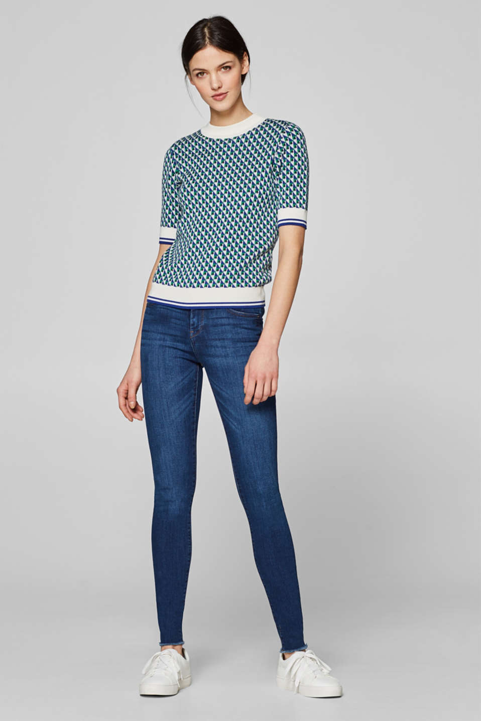 Esprit - Stretch jeans with frayed hems
