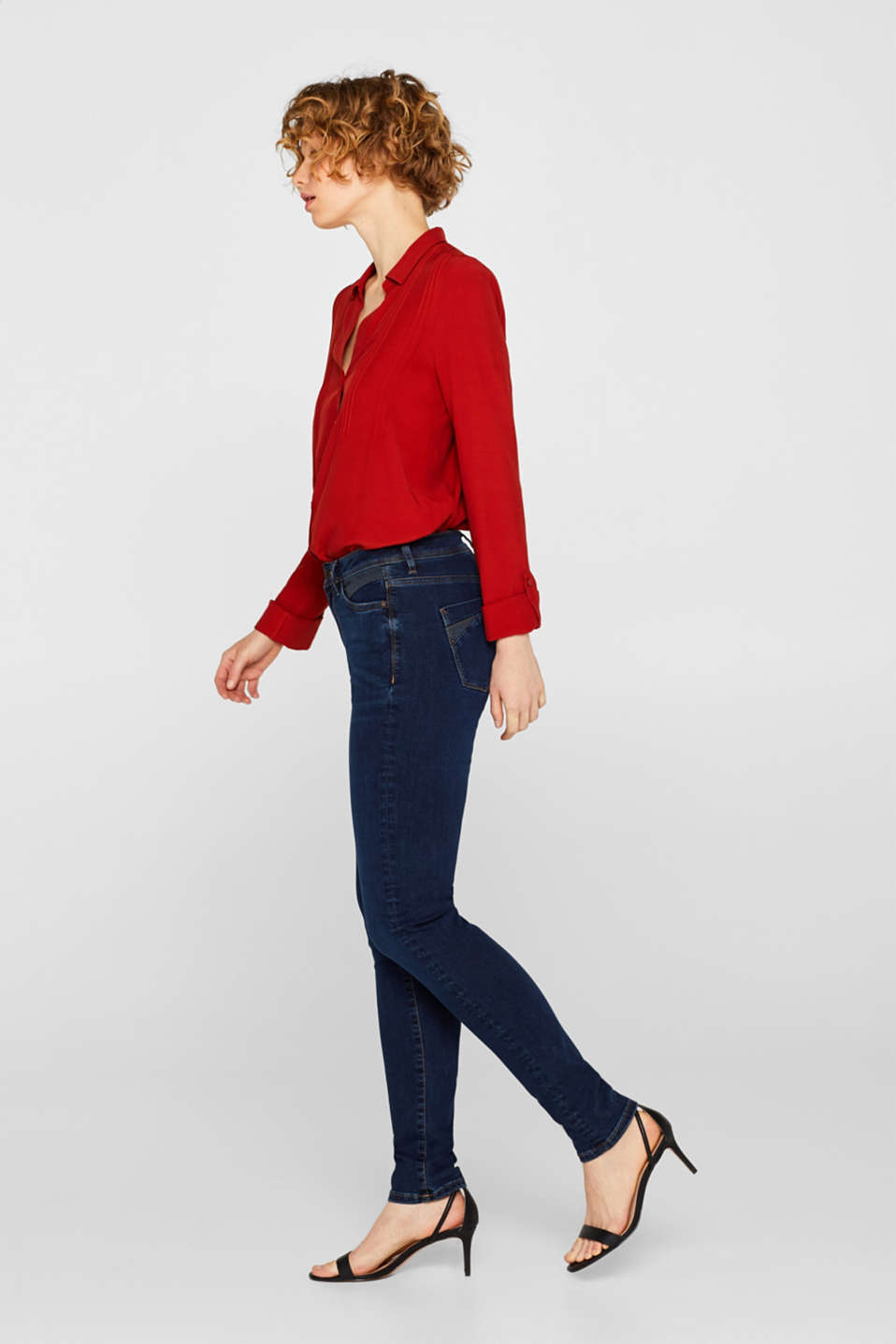 Stretch jeans with contrasting inserts, BLUE DARK WASH, detail