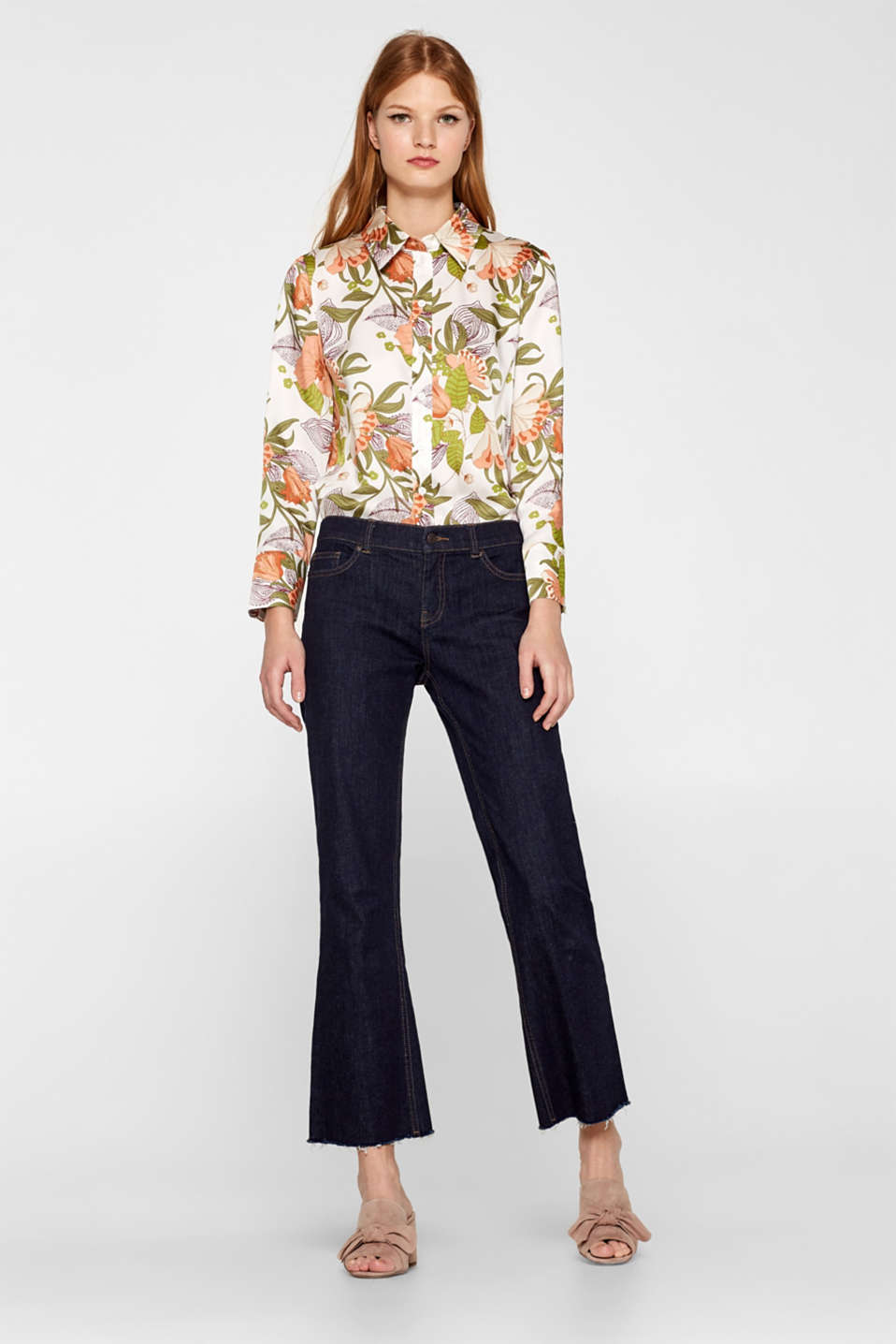 Esprit - Cropped stretch jeans with a frayed hem