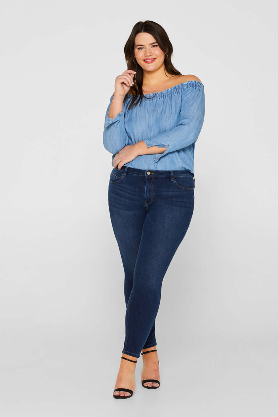 Esprit - ESPRIT CURVES super stretch jeans with lyocell