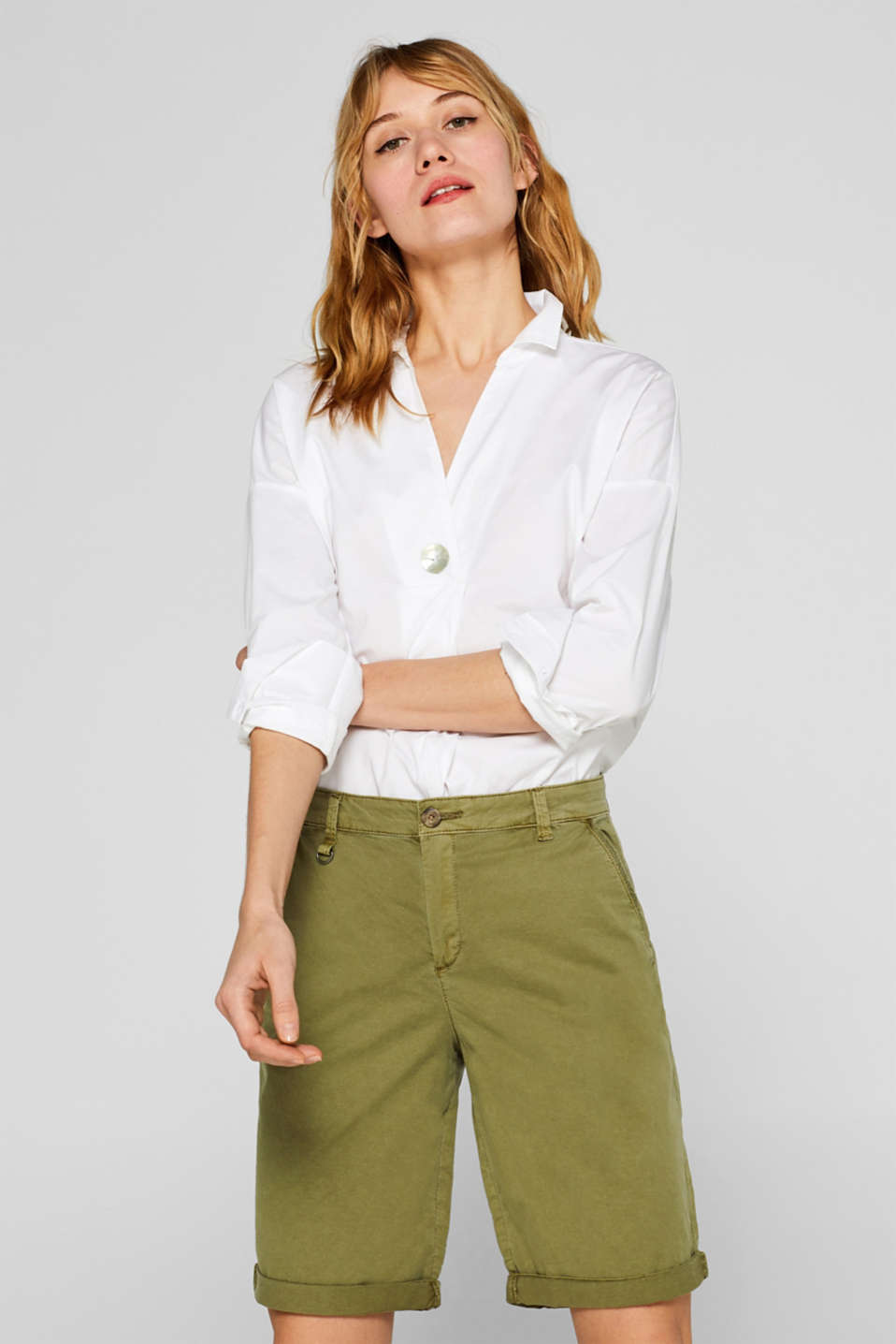 Esprit - Stretch bermudas with woven tape trim