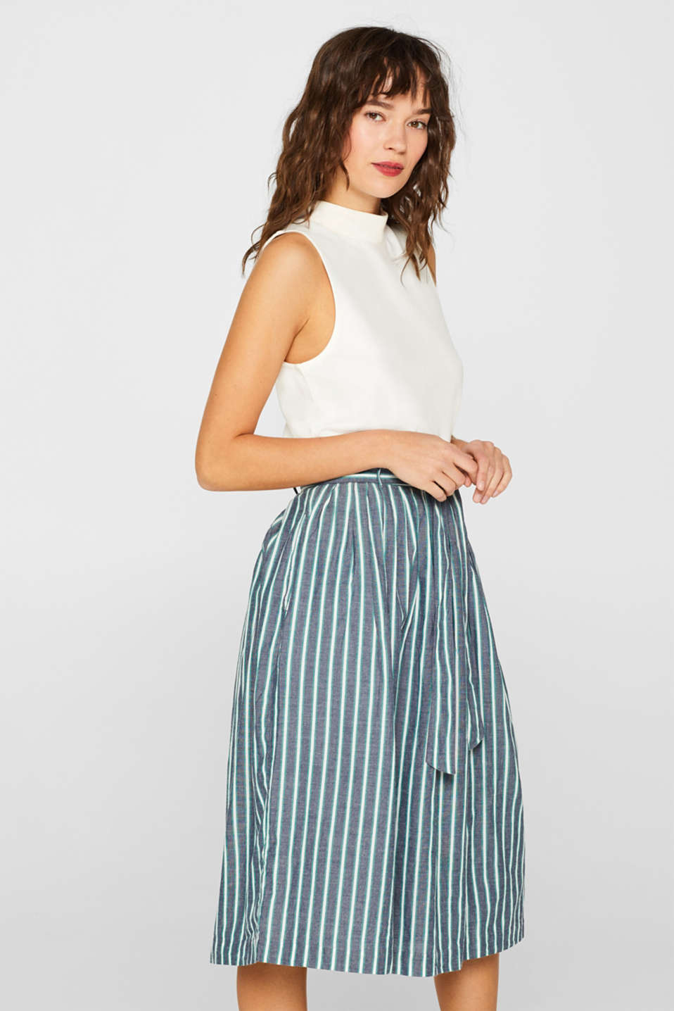 Esprit - Striped midi skirt in 100% cotton