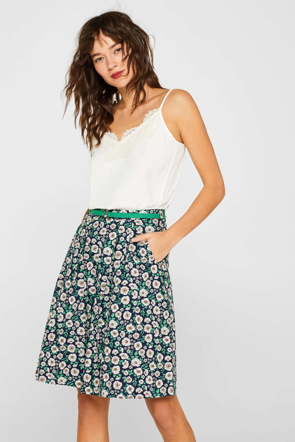 Esprit - Poplin skirt with belt, 100% cotton