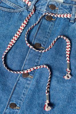 Denim skirt with a braided belt, 100% cotton