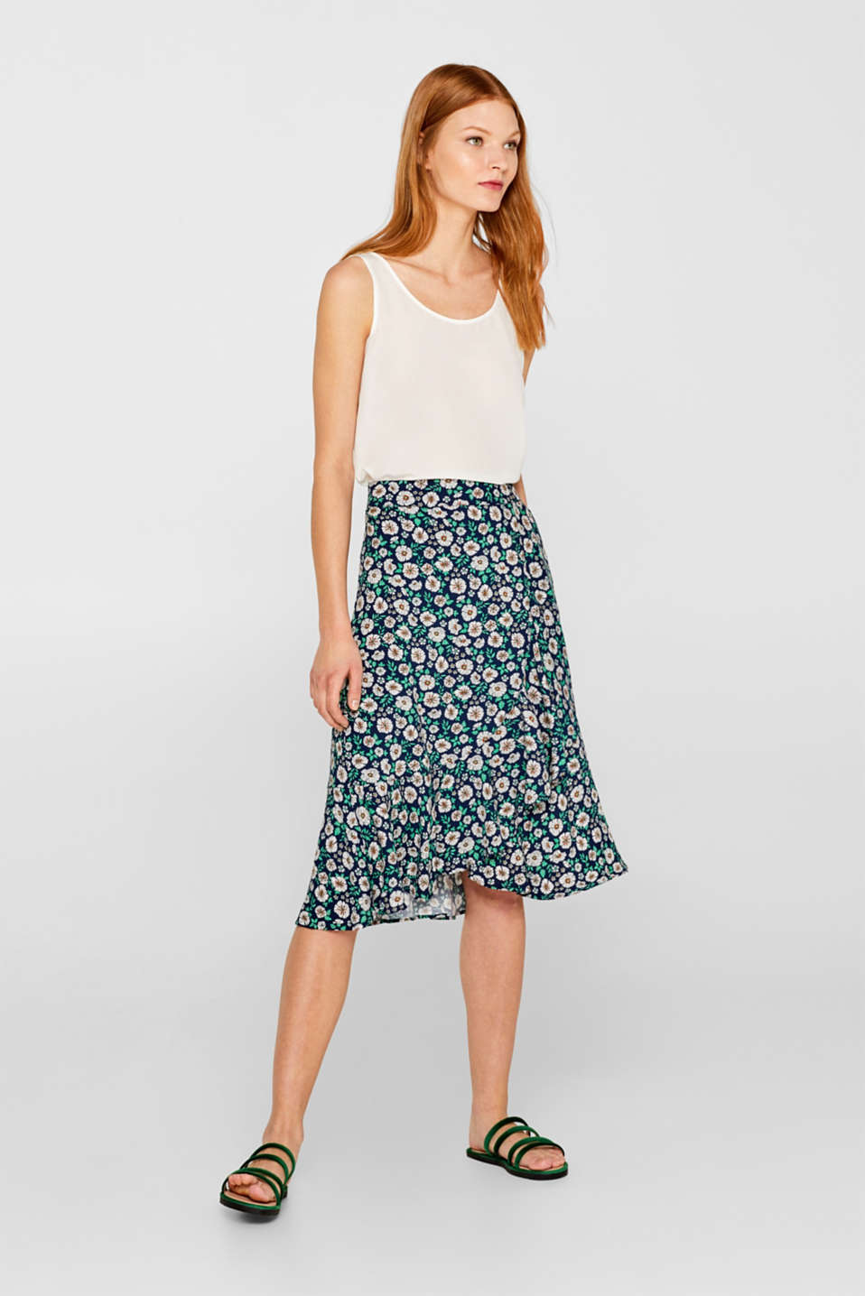 Esprit - Flared printed skirt in a wrap-over design