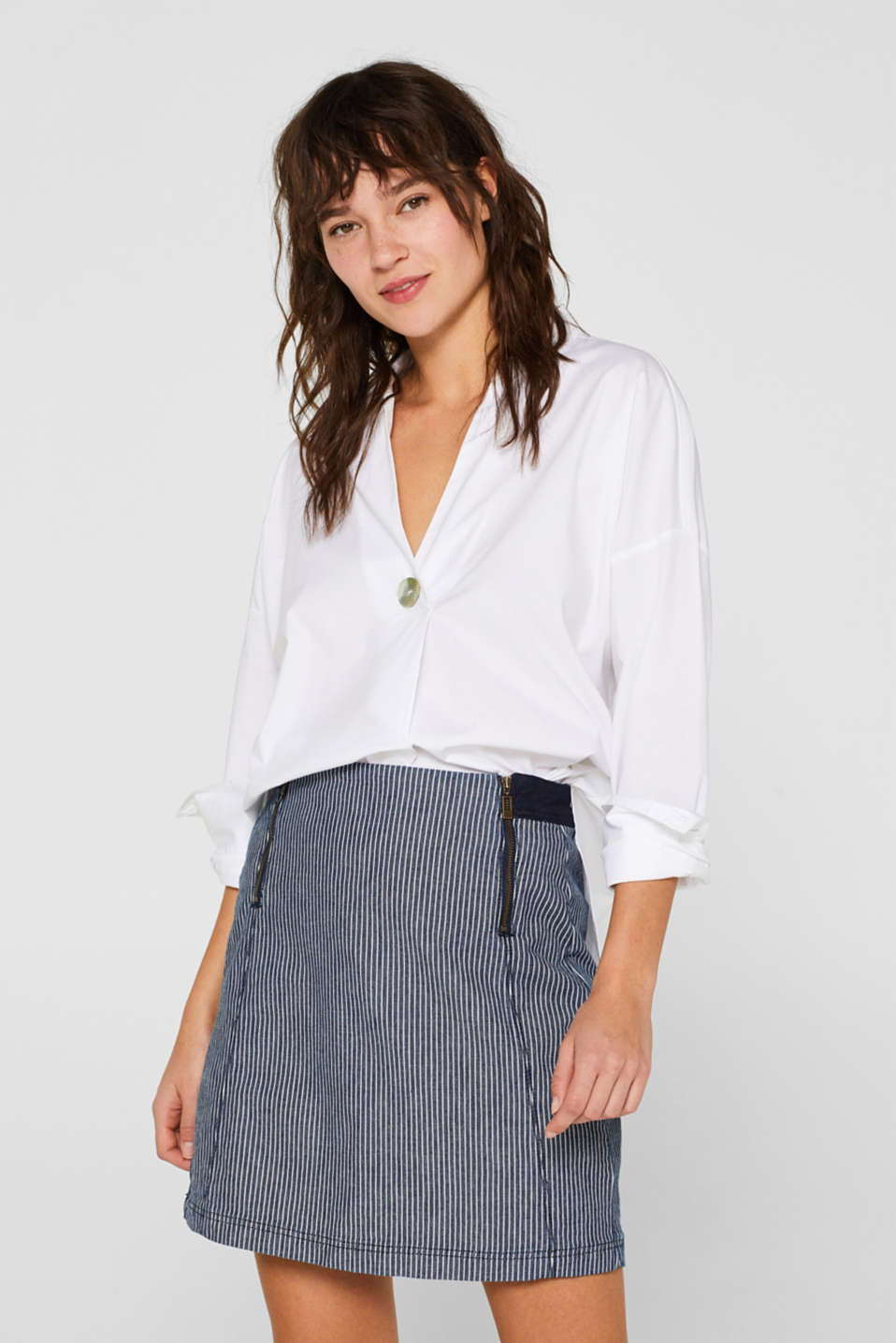 Esprit - Stretch denim skirt with striped pattern