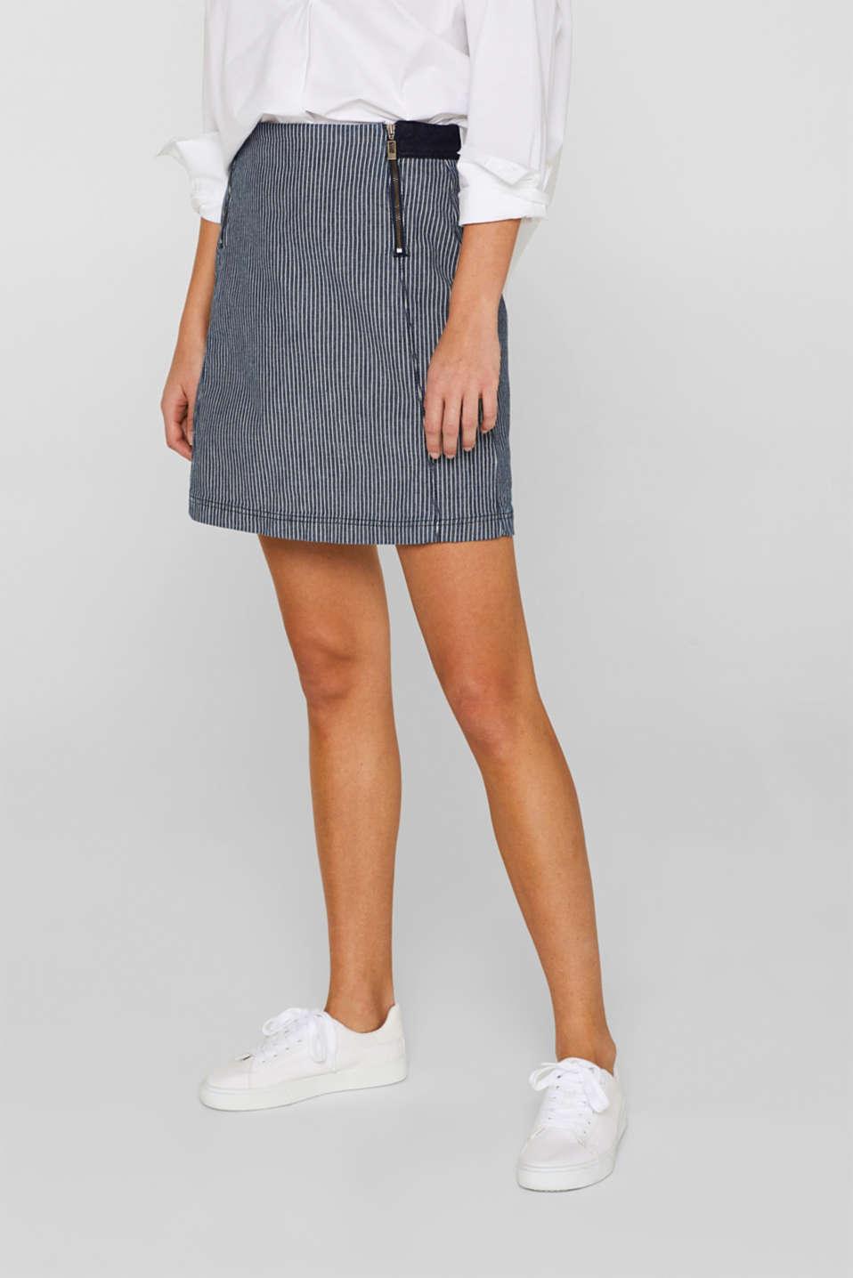 Stretch denim skirt with striped pattern