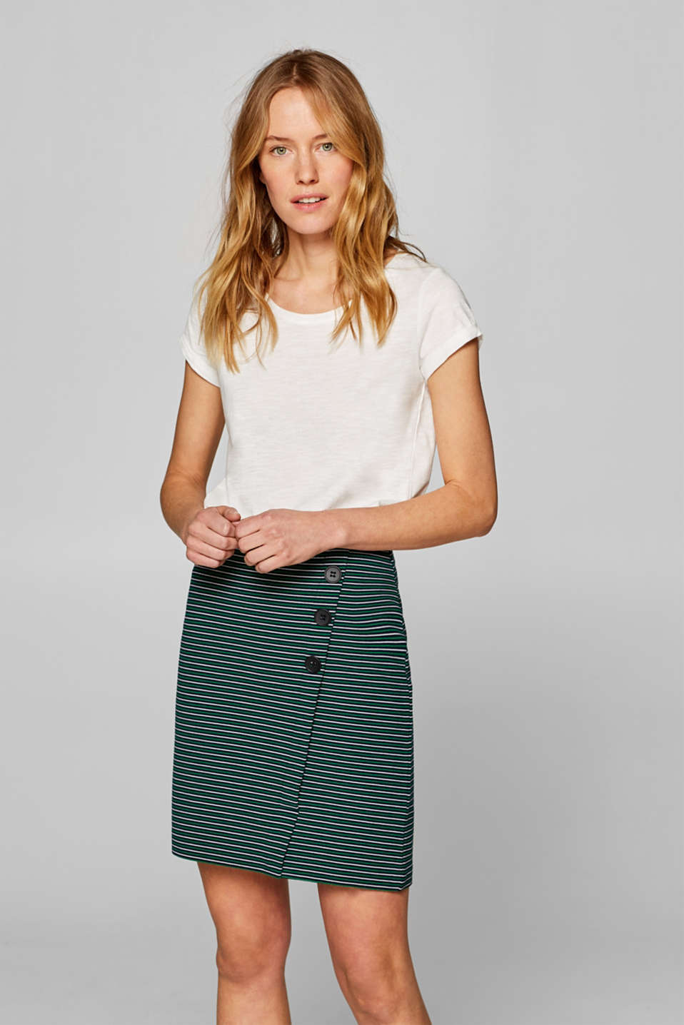 Esprit - Stretch jersey skirt with a button placket