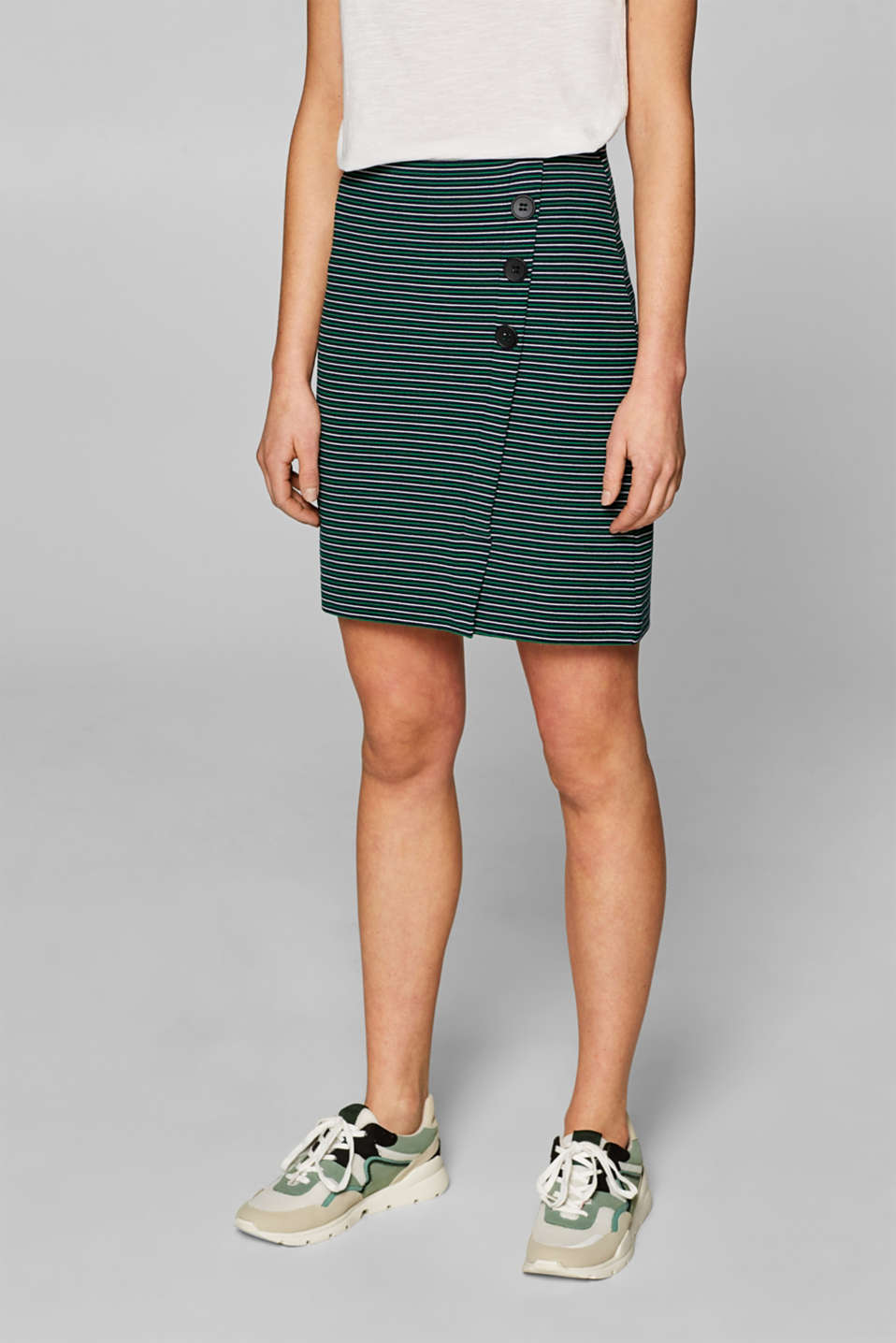 Stretch jersey skirt with a button placket, NAVY, detail image number 5