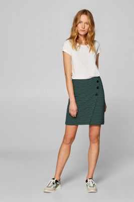 Stretch jersey skirt with a button placket, NAVY, detail