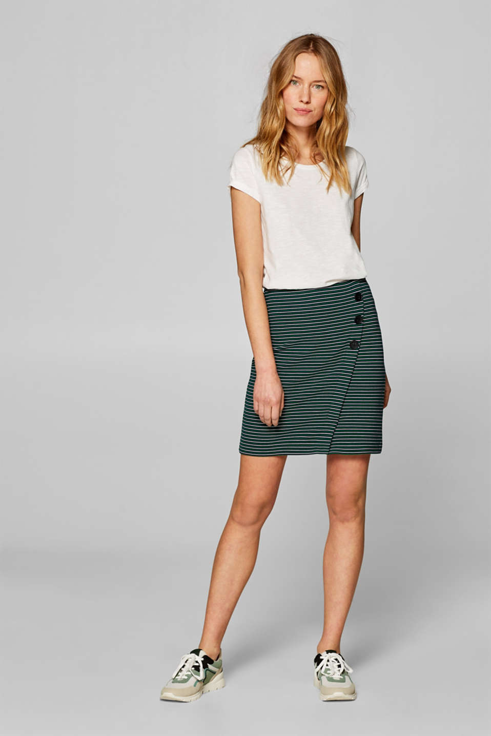Stretch jersey skirt with a button placket, NAVY, detail image number 1