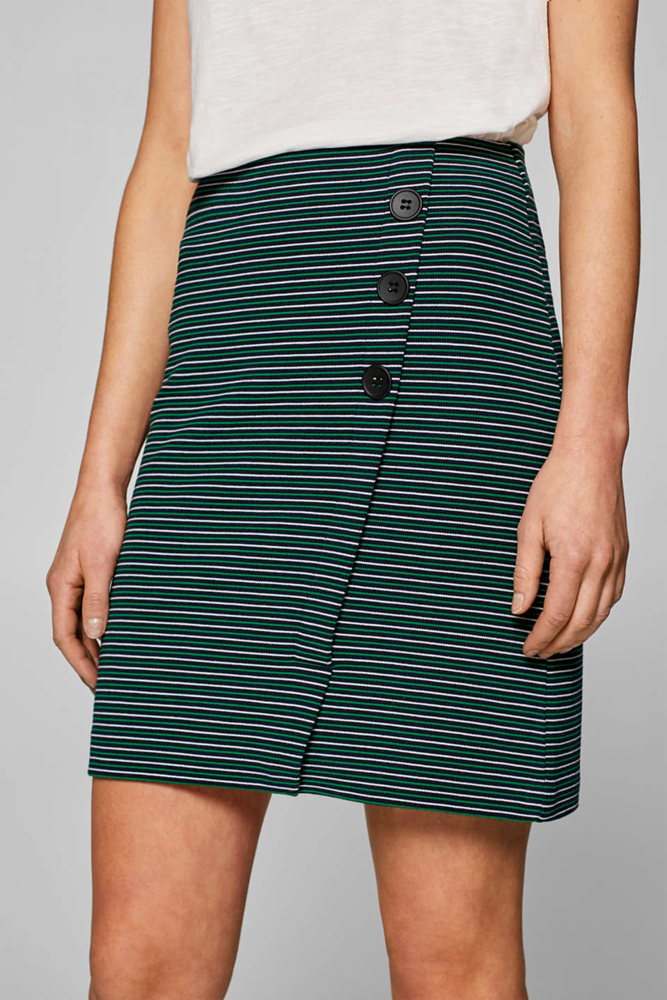 Stretch jersey skirt with a button placket, NAVY, detail image number 2