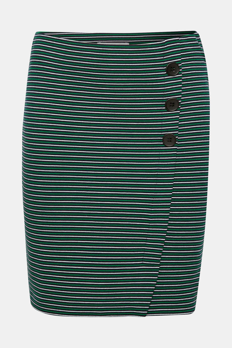 Stretch jersey skirt with a button placket, NAVY, detail image number 6