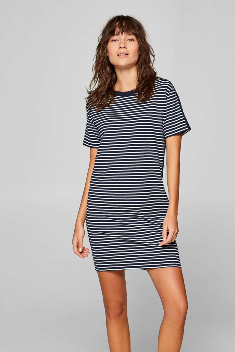 Esprit - Jersey dress with stripes and woven tape trim