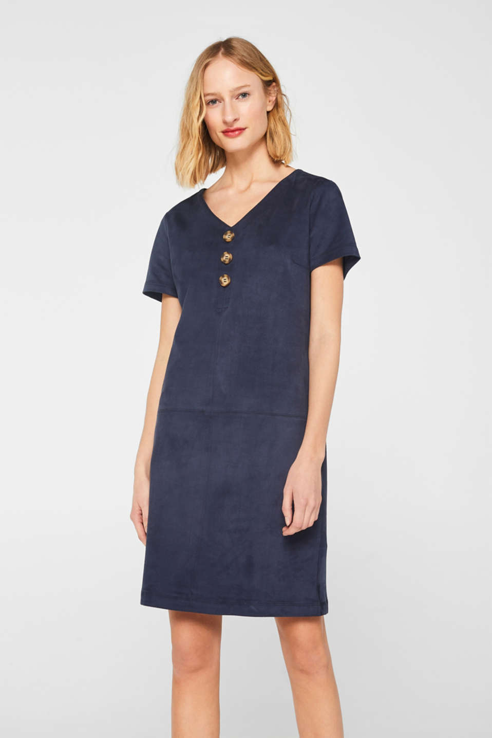 Esprit - Soft stretch dress in faux suede