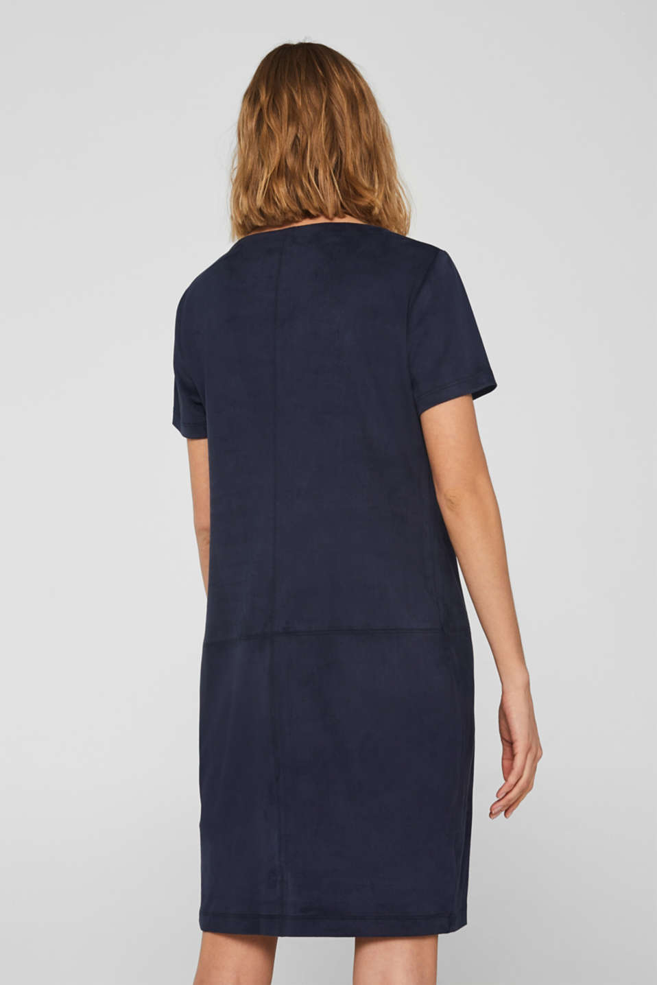 Soft stretch dress in faux suede, NAVY, detail image number 2