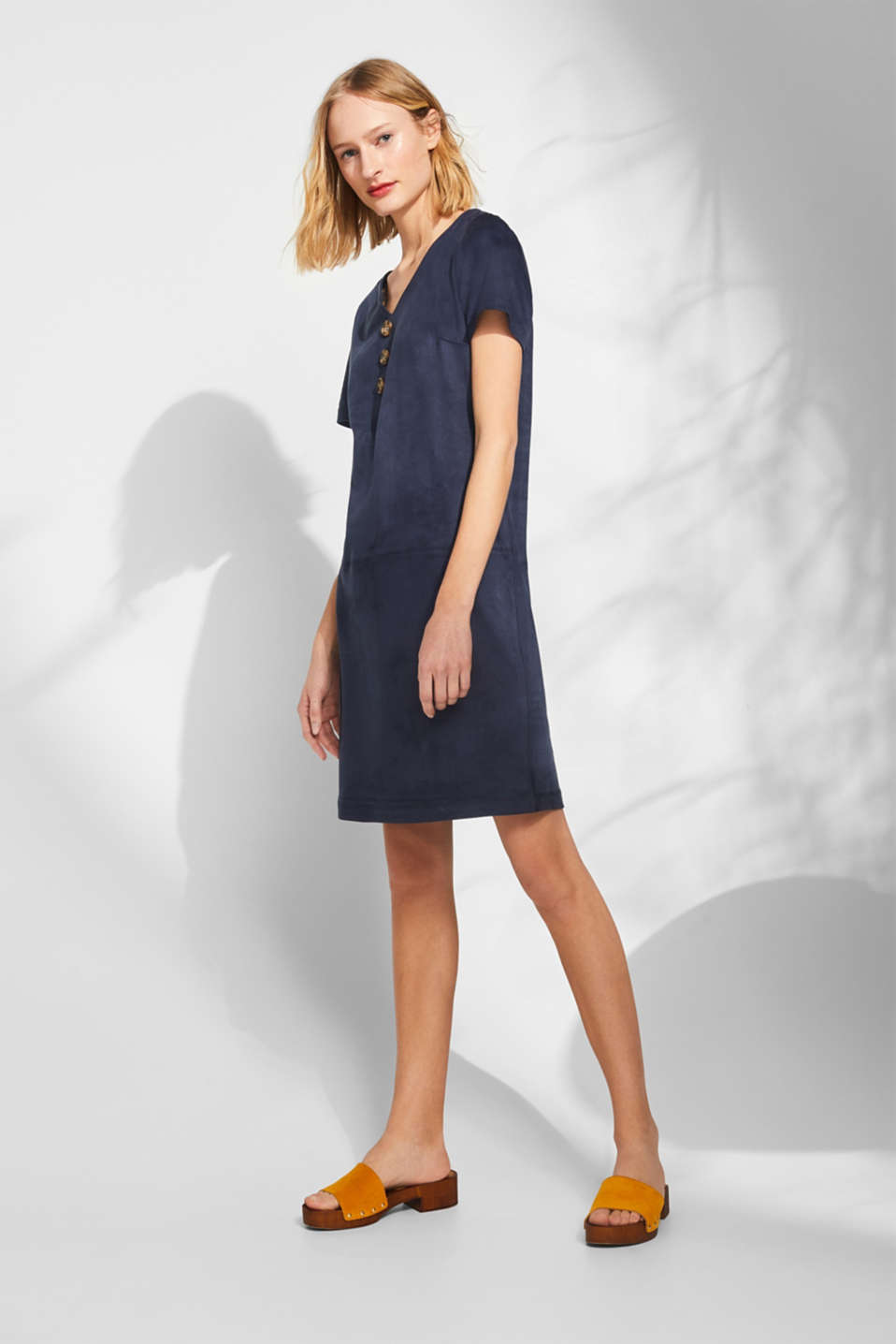 Soft stretch dress in faux suede, NAVY, detail image number 1