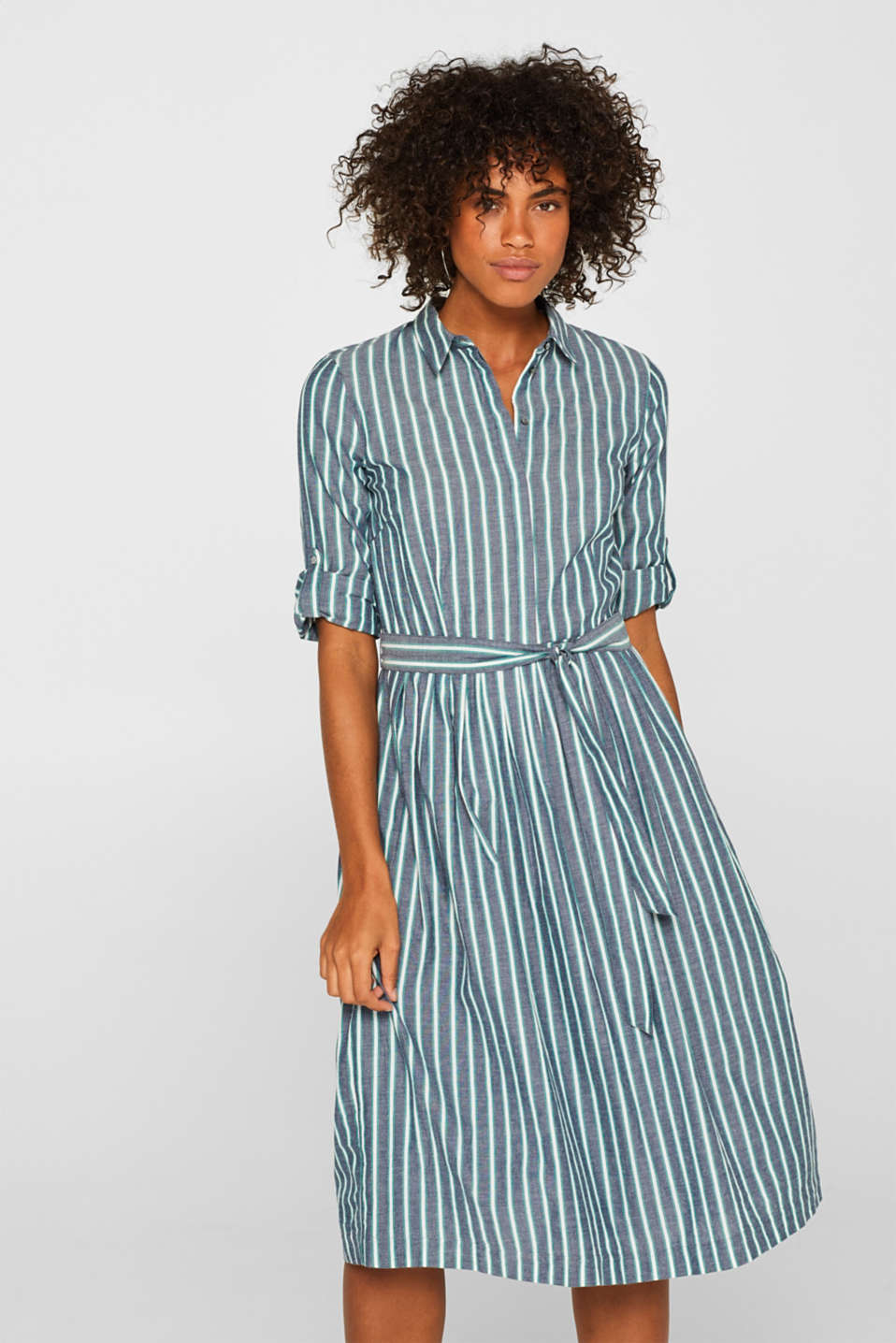 Esprit - Striped shirt dress in 100% cotton