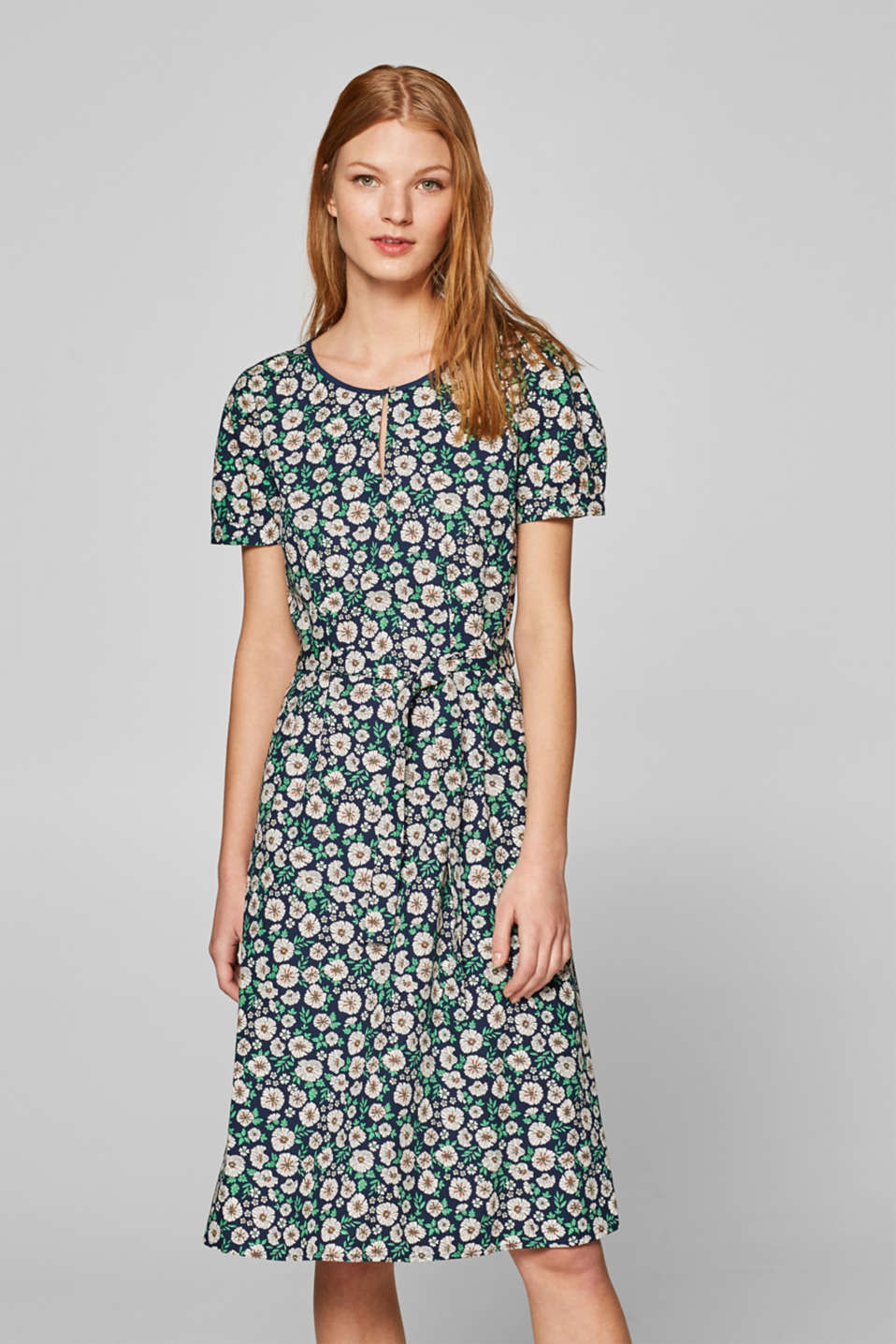 Esprit - Print dress with a tie belt, 100% cotton